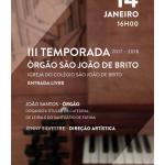 III Temporada de órgão de São João de Brito | 14 de janeiro |  Igreja do Colégio São João de Brito de Lisboa
