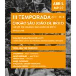 III Temporada de Órgão São João de Brito | 8 de abril | Igreja do Colégio de S. João de Brito