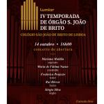IV Temporada de Órgão São João de Brito | 14 de outubro | Igreja do Colégio de São João de Brito
