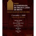 IV Temporada de Órgão São João de Brito | 11 de novembro | Igreja do Colégio de São João de Brito